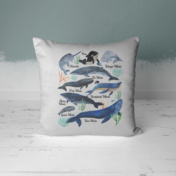 Whale Pillow Cover Watercolor Whale Throw Pillow Types Of Whales Shirt Illustrated Whale Gift Idea Nautical Decor 15