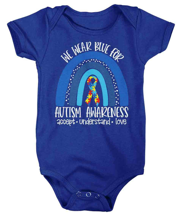 Baby Autism Shirt We We Wear Blue Creeper Autism Tee Accept Love Rainbow Bodysuit Support Autism Awareness Shirt Infant-Shirts By Sarah