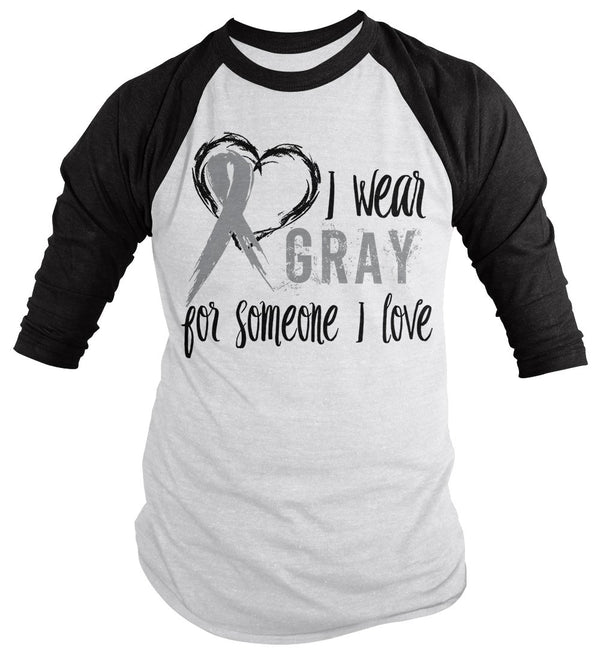 Shirts By Sarah Men's Wear Gray Someone I Love 3/4 Sleeve Brain Cancer Asthma Diabetes Awareness Ribbon-Shirts By Sarah
