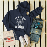 Men's Funny Book Hoodie Weekend All Booked Librarian Author Gift Idea Geek Sweatshirt Reader-Shirts By Sarah