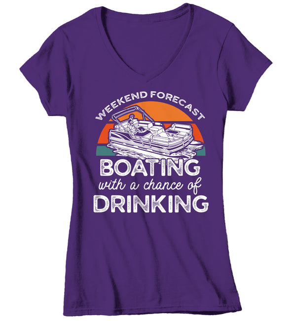 Women's V-Neck Funny Pontoon T Shirt Weekend Forecast Shirt Boating Chance Drinking Shirt Boater Shirt Boater Gift-Shirts By Sarah
