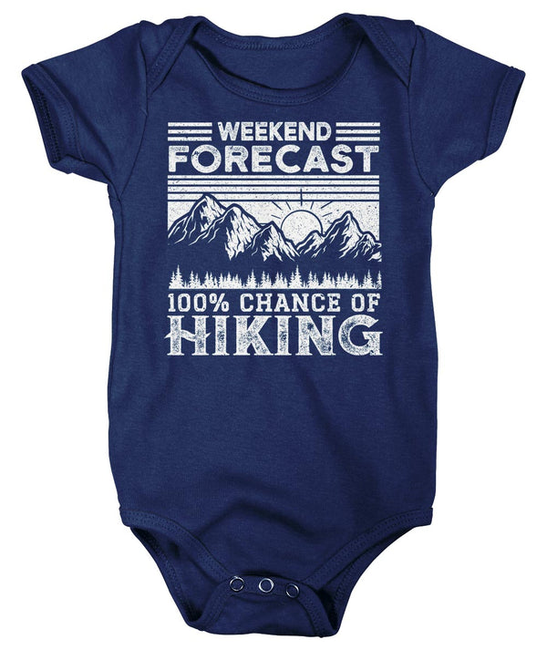 Baby Hiking Bodysuit Weekend Forecast Snap Suit Chance Of Hiking Creeper Hiker Gift Love Hiking Infant Mountains Boys Girls-Shirts By Sarah