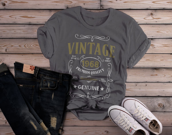 Shirts By Sarah Women's Vintage 1968 50th Birthday T-Shirt Classic Fifty Tee Shirt-Shirts By Sarah