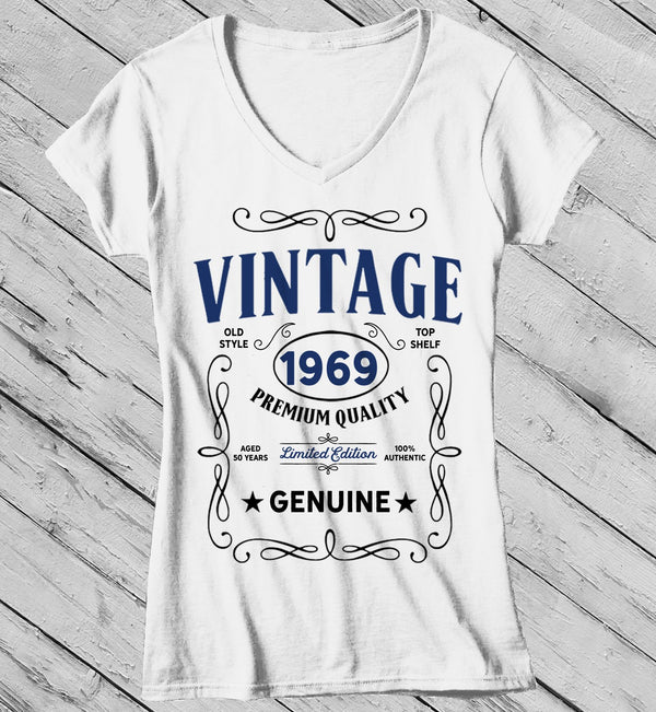Women's Vintage 1969 50th Birthday T-Shirt Classic Fifty Shirt Gift Idea 50th Birthday Shirts Vintage Tee Vintage Shirt-Shirts By Sarah