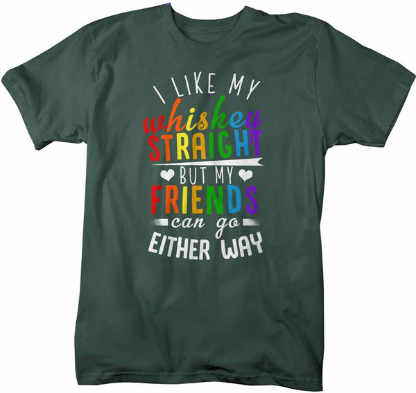 Men's Funny LGBT T Shirt Like My Whiskey Straight Shirt Friends Either Way Shirts Inspirational LGBT Shirts-Shirts By Sarah