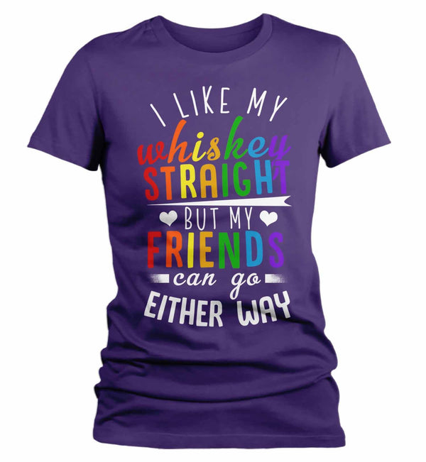 Women's Funny LGBT T Shirt Like My Whiskey Straight Shirt Friends Either Way Shirts Inspirational LGBT Shirts-Shirts By Sarah