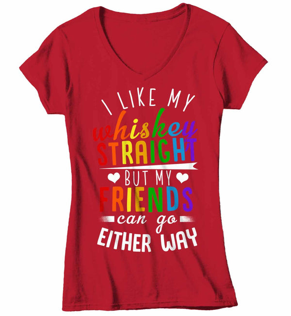 Women's V-Neck Funny LGBT T Shirt Like My Whiskey Straight Shirt Friends Either Way Shirts Inspirational LGBT Shirts-Shirts By Sarah