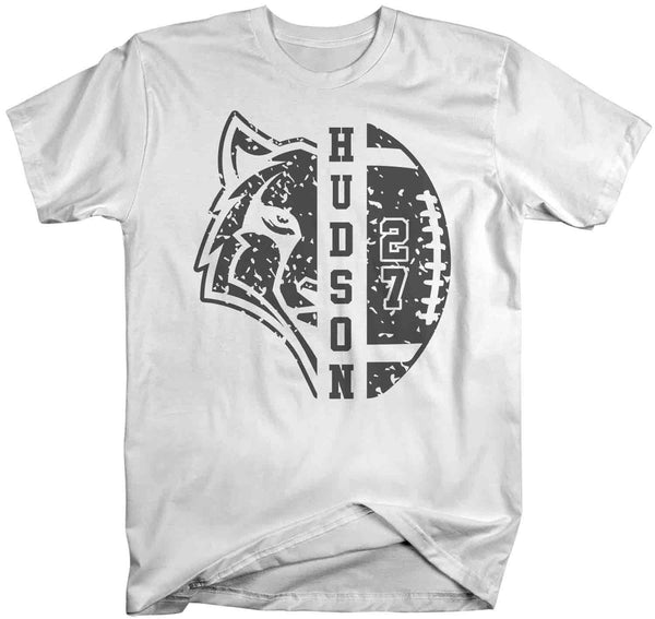 Men's Personalized Wolf Football T Shirt Custom Wolf Football Shirts Football Dad T Shirt Personalized Shirts-Shirts By Sarah