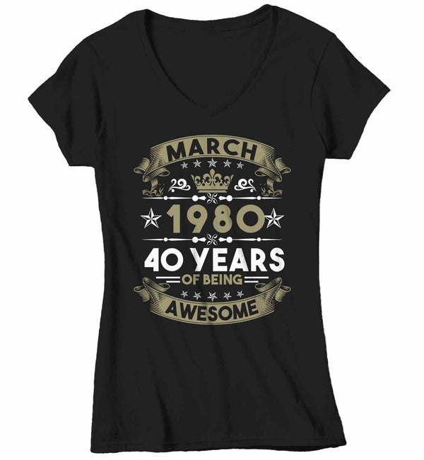 Women's V-Neck Custom Birthday T Shirt Years Awesome Custom Birthday Month Shirt 40th Birthday 50th Birthday 30th Birthday 60th Birthday Shirt-Shirts By Sarah