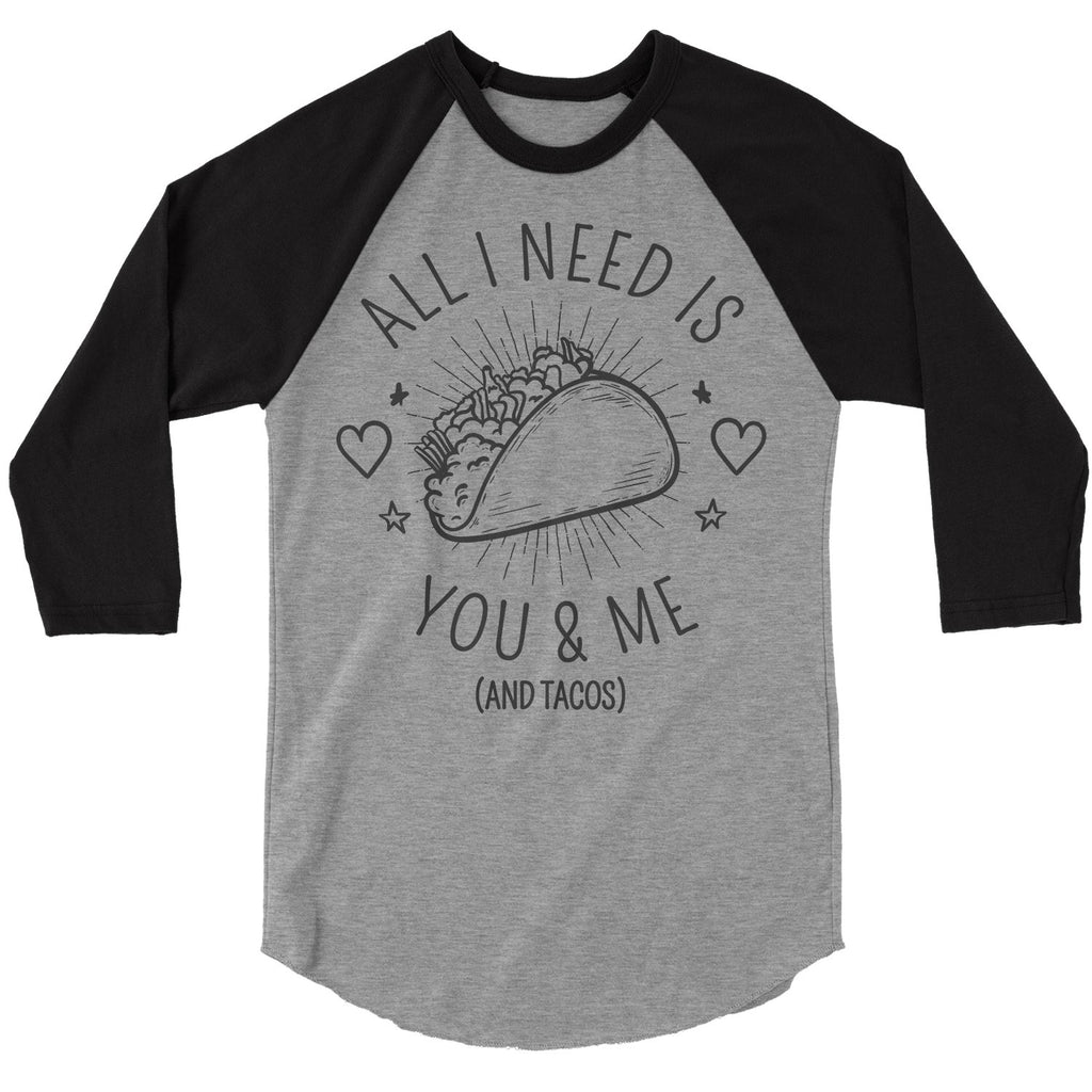 42e46f5f Men's Funny Valentine's Day T Shirt You Me Tacos Tee Raglan 3/4 Sleeve Taco