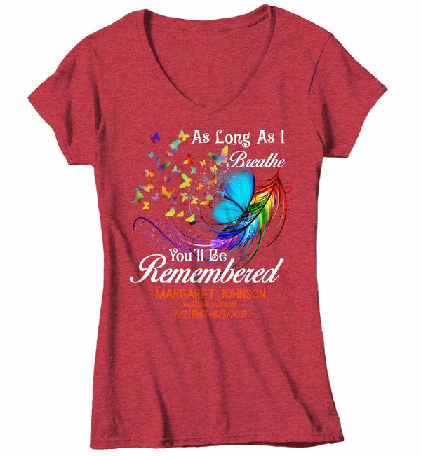 Women's V-Neck Personalized In Memory T-Shirt Remember You Awareness Shirts Custom Shirts Name Tee In Memory Of Shirt-Shirts By Sarah