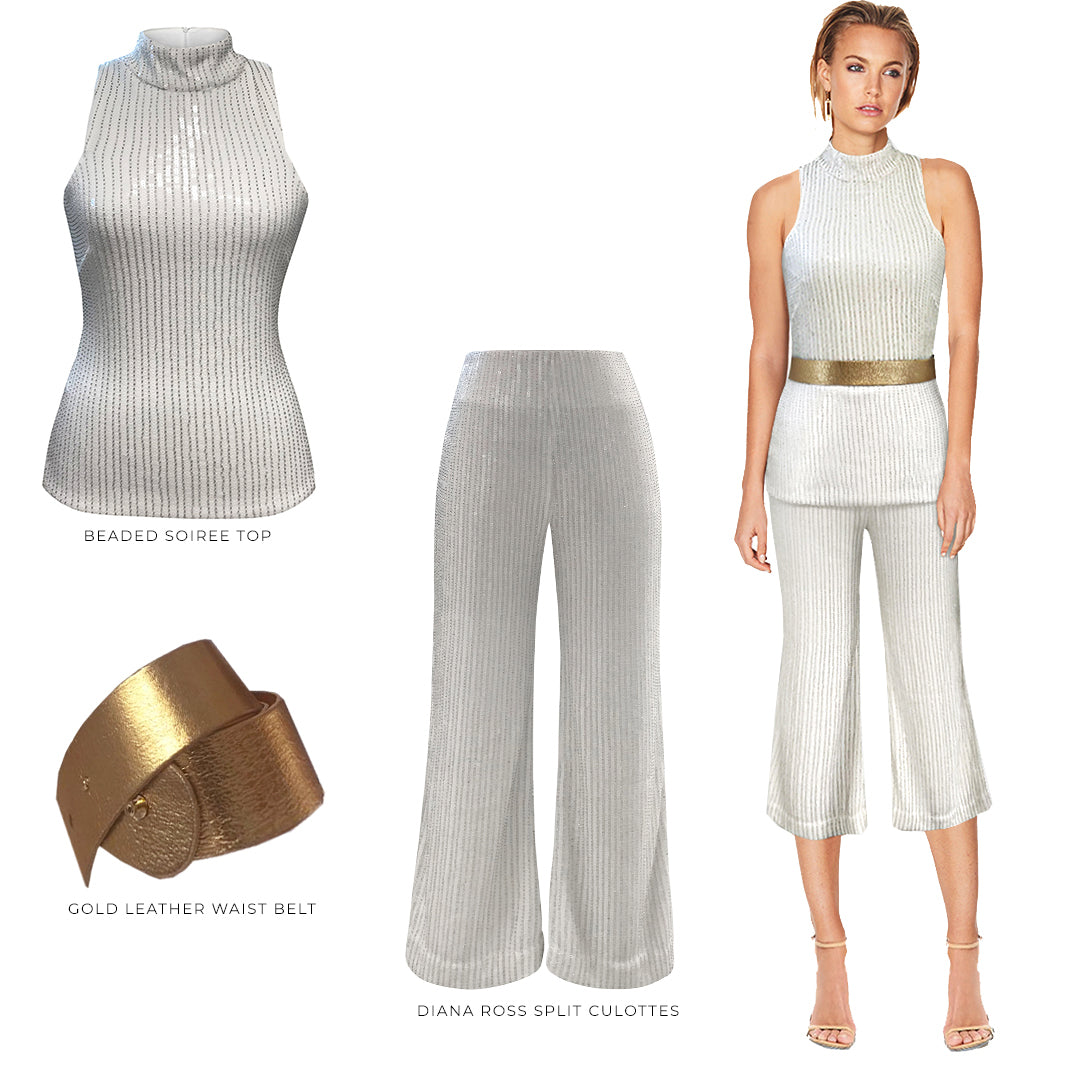 SOIREE TOP, DIANA ROSS CULOTTES, LEATHER GOLD WAIST BELT