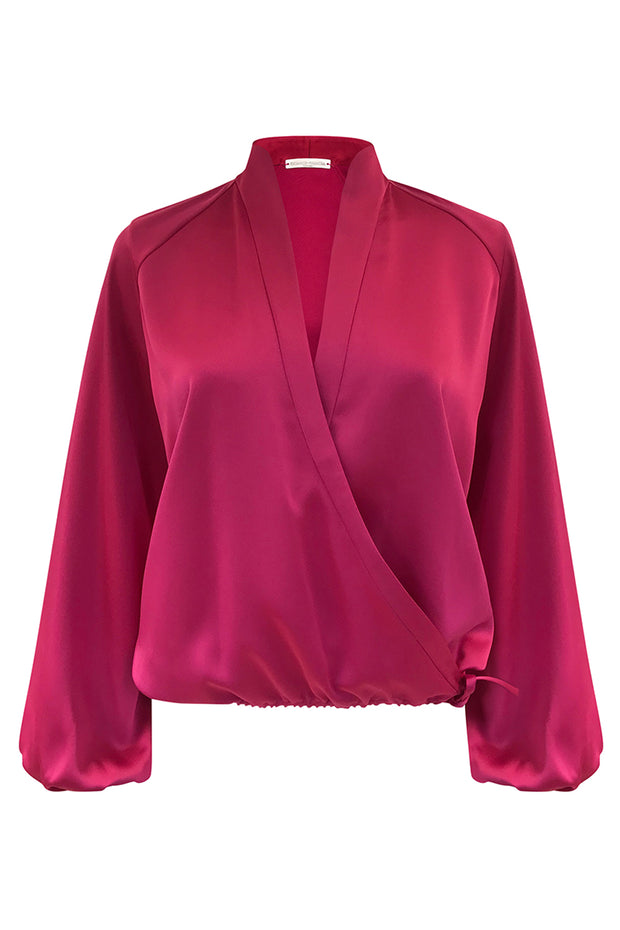 HALSTON LONG SLEEVE WRAP TOP