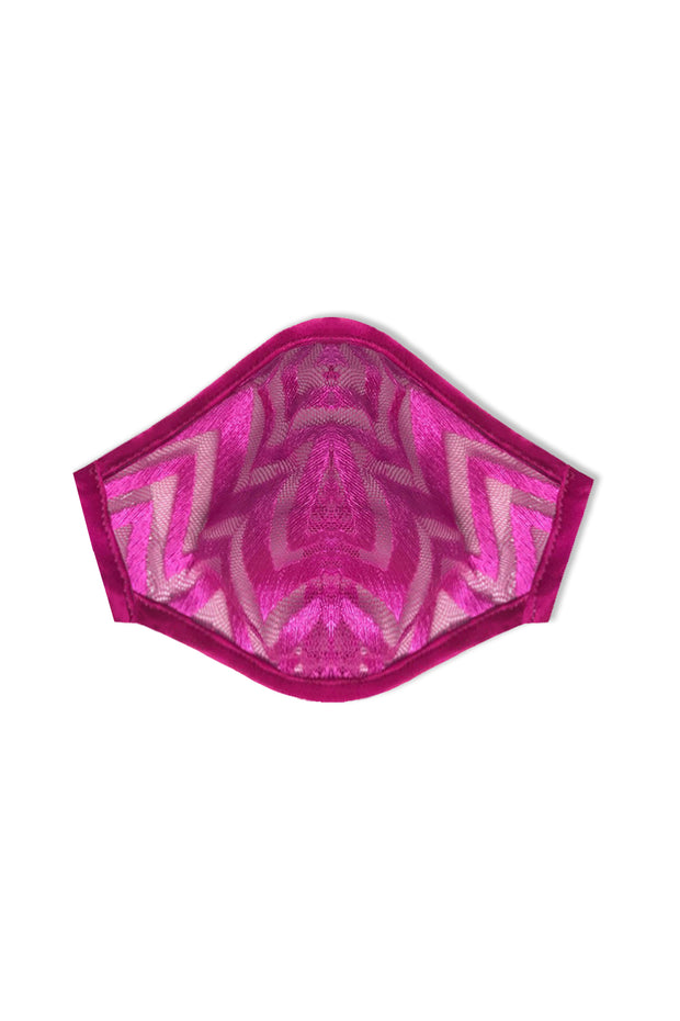 PINK ZIG ZAG LACE FASHION MASK COVER