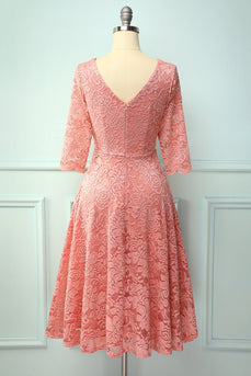Robe formelle manches 3/4 blush