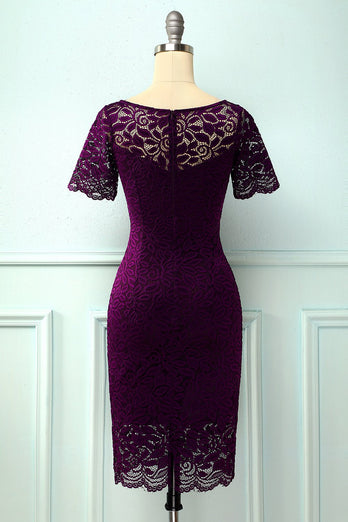 Robe moulante en dentelle raisin