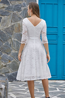 Robe formelle blanche à manches 3/4