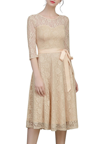 Robe Champagne Dentelle en Noeud Col Rond Manches Mi Longue