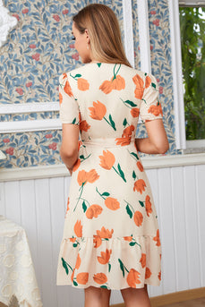 Robe d'emballage casual flower print