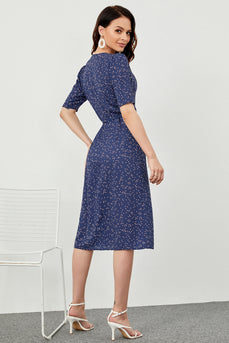 Navy Polka Dots Midi Summer Wrap Robe