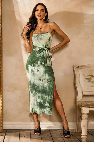 Robe d'été Green Tie Dye Bodycon