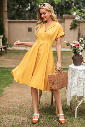Élégante robe vintage yellow v neck
