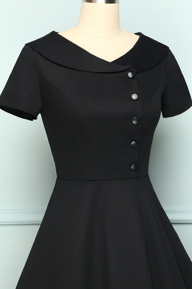 Charger l'image dans la galerie, Black Button Dress - ZAPAKA