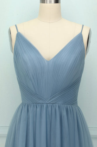 Blue Tulle Ruffle Dress - ZAPAKA