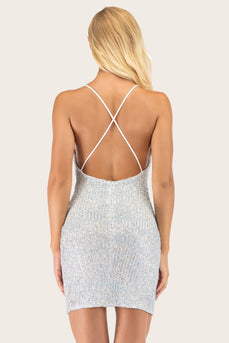 Robe de cocktail Silver Sequin Bodycon