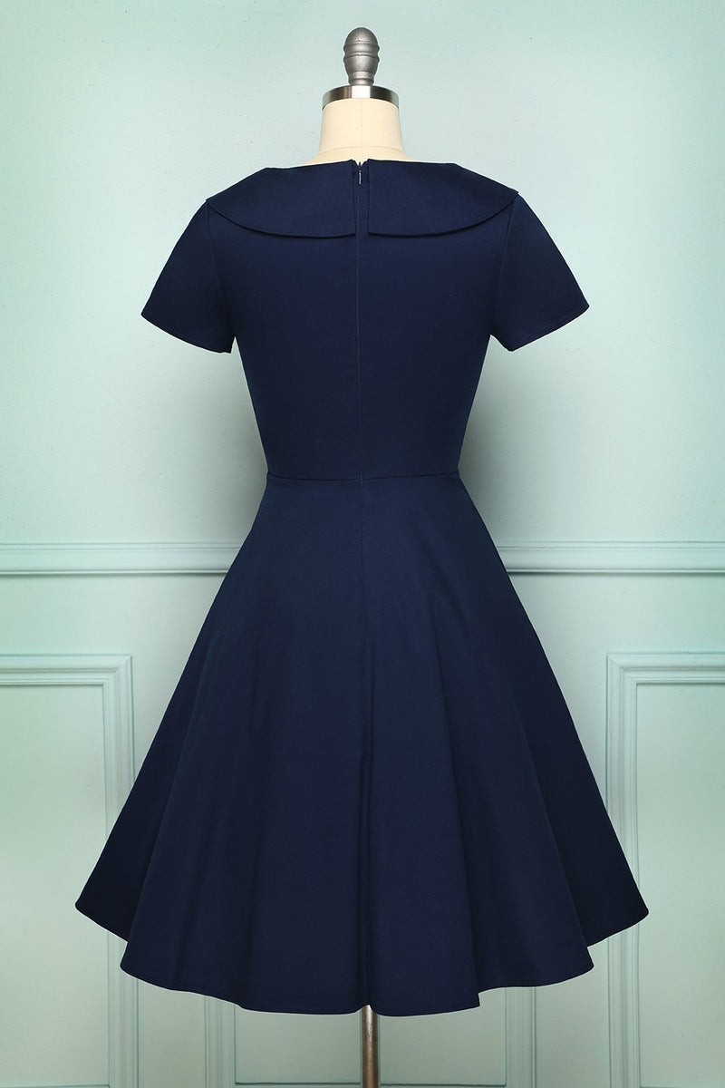 Charger l'image dans la galerie, Navy Blue Button Dress - ZAPAKA