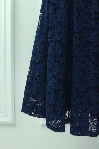 Midi in pizzo all'americana blu scuro