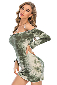 Abito verde off spalla Mini Bodycon