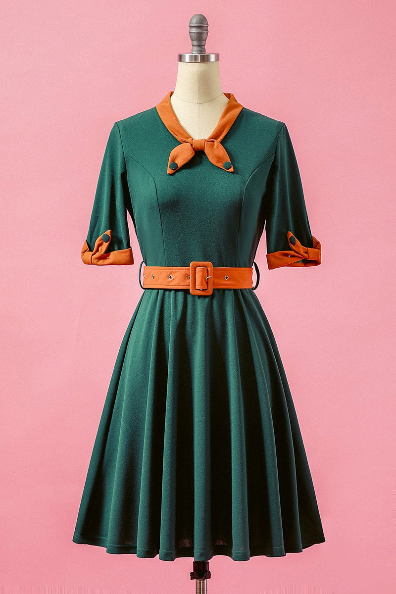 Carica l'immagine nel visualizzatore di Gallery, Verde Patchwork scollo a V swing Party Dress
