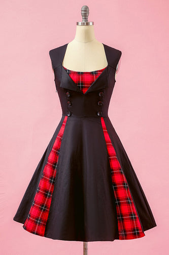 Nero Patchwork Plaid scollo a V swing Party Dress