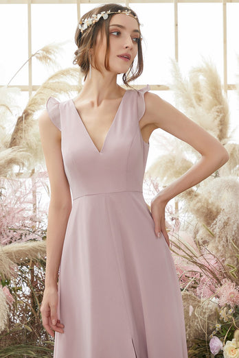 Blush Open Back Chiffon Bridesmaid Abito