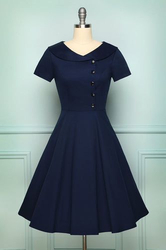 Navy Blue Button Dress - ZAPAKA