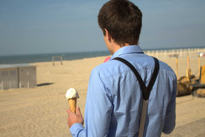 Ice cream and suspenders at the sea side