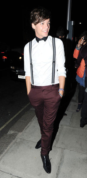 Louis Tomlinson wearing Suspenders. Credits to famouspeople.com