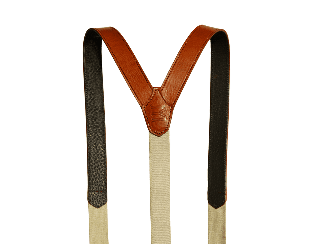 Suspenders in Brown cognac leather are trending. By Baron Bretelle.