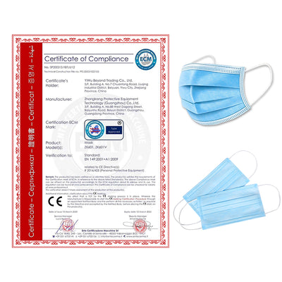 50PCS 3-Layers Non-woven Filter Bacteria Disposable  Face Masks