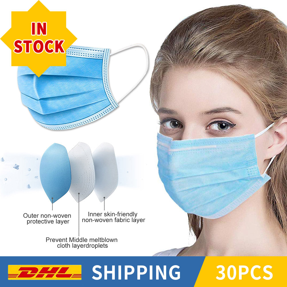 30PCS (Free Shipping) 3-Layers Non-woven Filter Bacteria Disposable  Face Masks