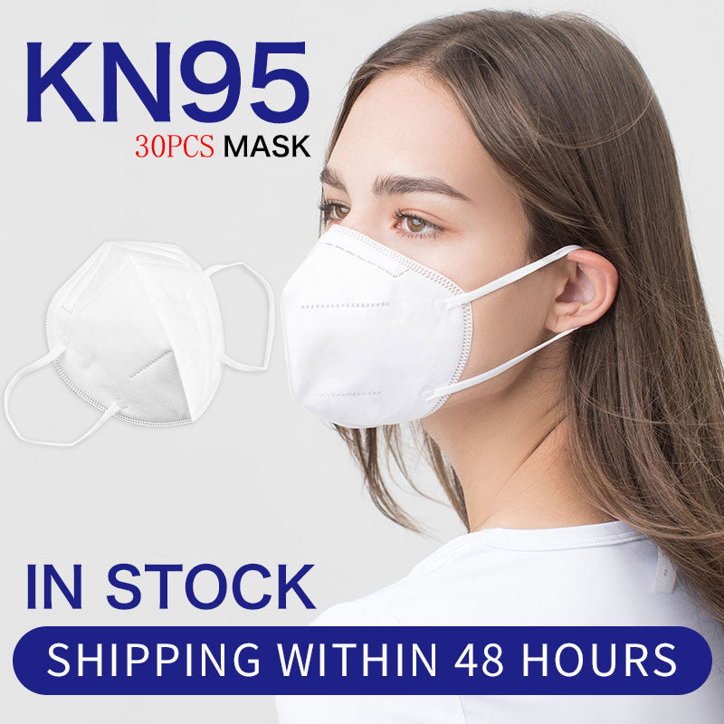 30PCS Five-Layers Structure Multiple Protection White  KN95 Face Masks