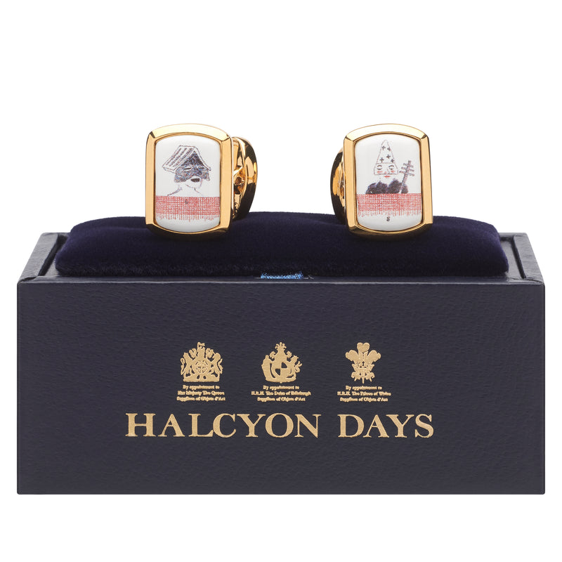 Bedlam music book cufflinks by David Hockney