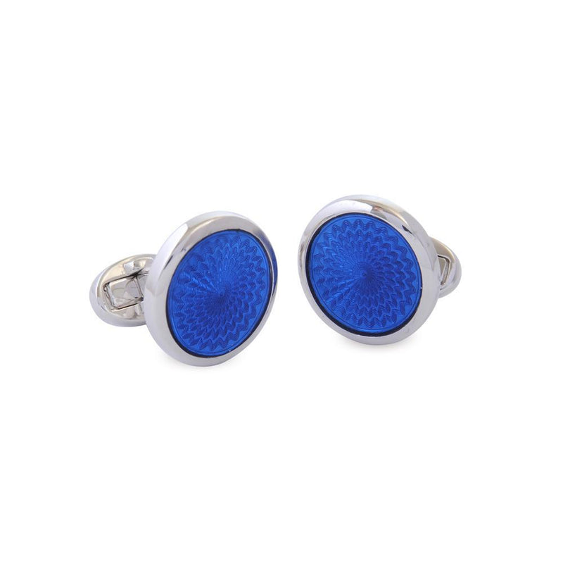 Agama Engine Turned Navy Sterling Silver Cufflinks