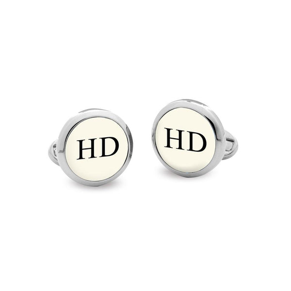 Personalised Monogram Round Palladium Cufflinks