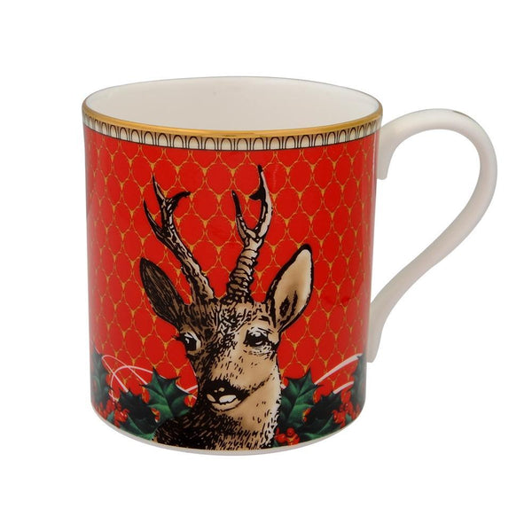 Antler Trellis & Stag Red Mug Set
