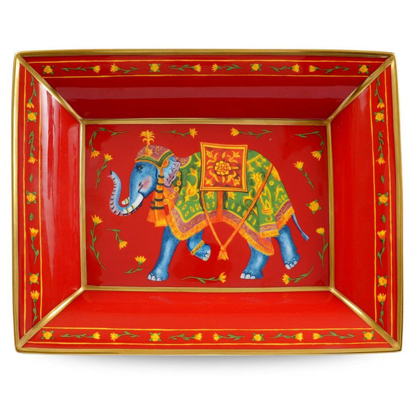 Ceremonial Indian Elephant Trinket Tray Red