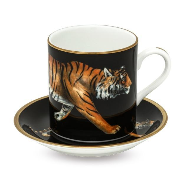 MW Tiger Coffee Cup & Saucer Set x 6