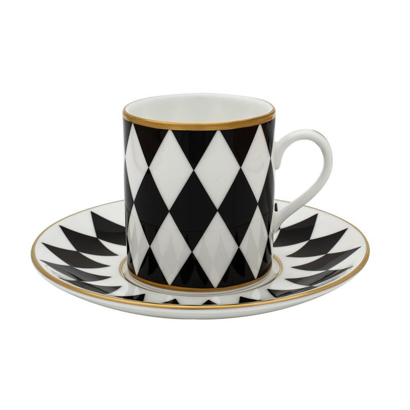 Parterre Set of Coffee Cups & Saucer Black