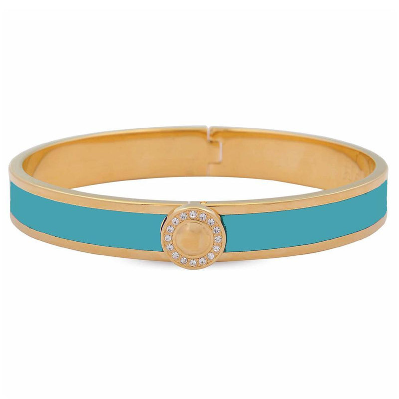 Sparkle Button Turquoise & Gold Bangle